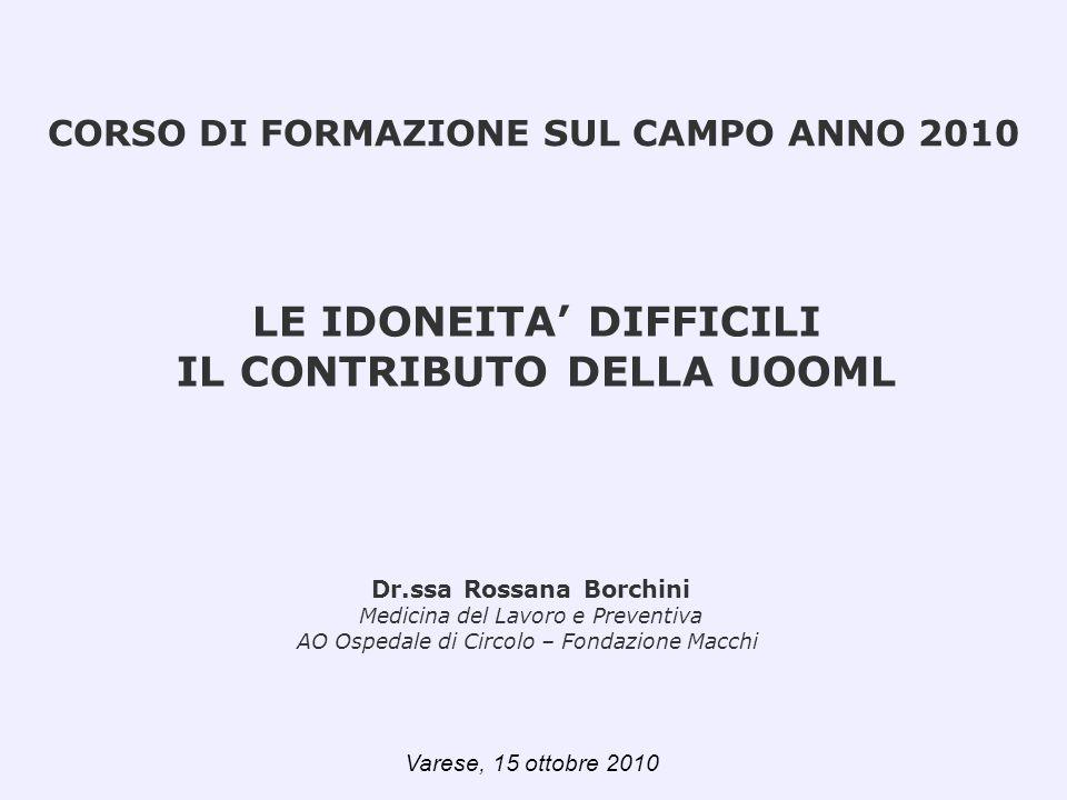 LE IDONEITA DIFFICILI IL CONTRIBUTO DELLA UOOML Dr.ssa Rossana Borchini Medicina del Lavoro e Preventiva AO Ospedale di Circolo – Fondazione Macchi CO