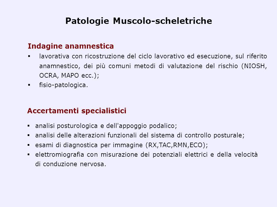Patologie Muscolo-scheletriche Indagine anamnestica lavorativa con ricostruzione del ciclo lavorativo ed esecuzione, sul riferito anamnestico, dei più