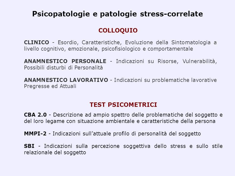 Psicopatologie e patologie stress-correlate CLINICO - Esordio, Caratteristiche, Evoluzione della Sintomatologia a livello cognitivo, emozionale, psico