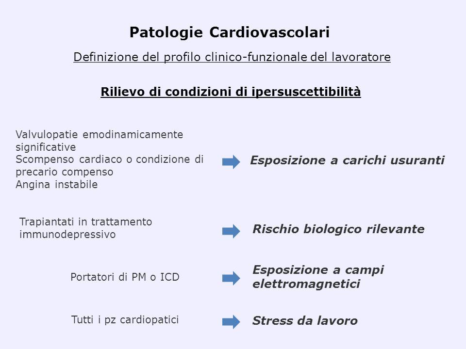 Esposizione a carichi usuranti Rilievo di condizioni di ipersuscettibilità Valvulopatie emodinamicamente significative Scompenso cardiaco o condizione