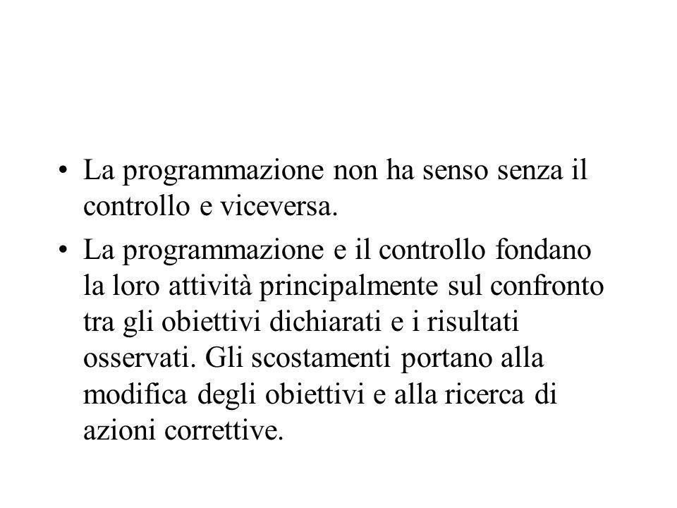 La programmazione non ha senso senza il controllo e viceversa.
