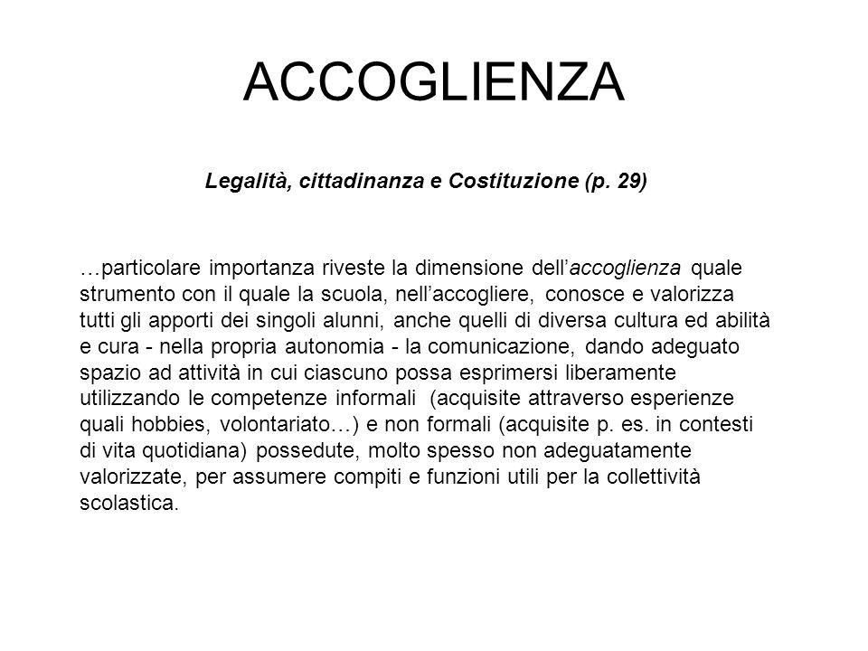 ACCOGLIENZA Legalità, cittadinanza e Costituzione (p.