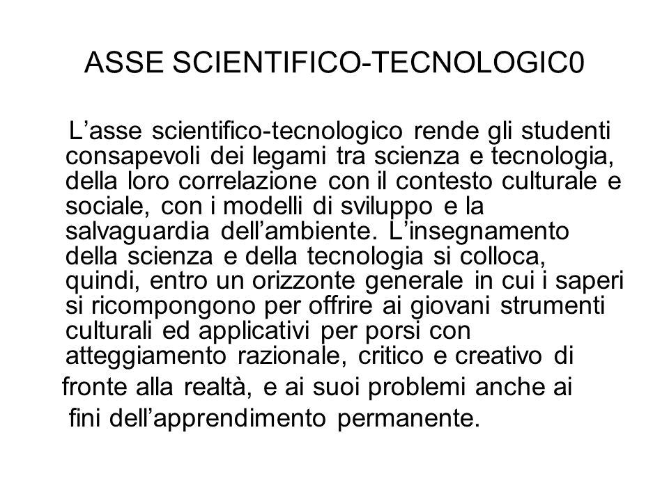 ASSE SCIENTIFICO-TECNOLOGIC0 Lasse scientifico-tecnologico rende gli studenti consapevoli dei legami tra scienza e tecnologia, della loro correlazione con il contesto culturale e sociale, con i modelli di sviluppo e la salvaguardia dellambiente.