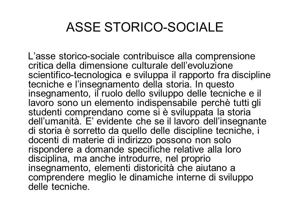 ASSE STORICO-SOCIALE Lasse storico-sociale contribuisce alla comprensione critica della dimensione culturale dellevoluzione scientifico-tecnologica e sviluppa il rapporto fra discipline tecniche e linsegnamento della storia.