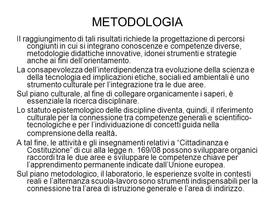 METODOLOGIA Il raggiungimento di tali risultati richiede la progettazione di percorsi congiunti in cui si integrano conoscenze e competenze diverse, metodologie didattiche innovative, idonei strumenti e strategie anche ai fini dellorientamento.