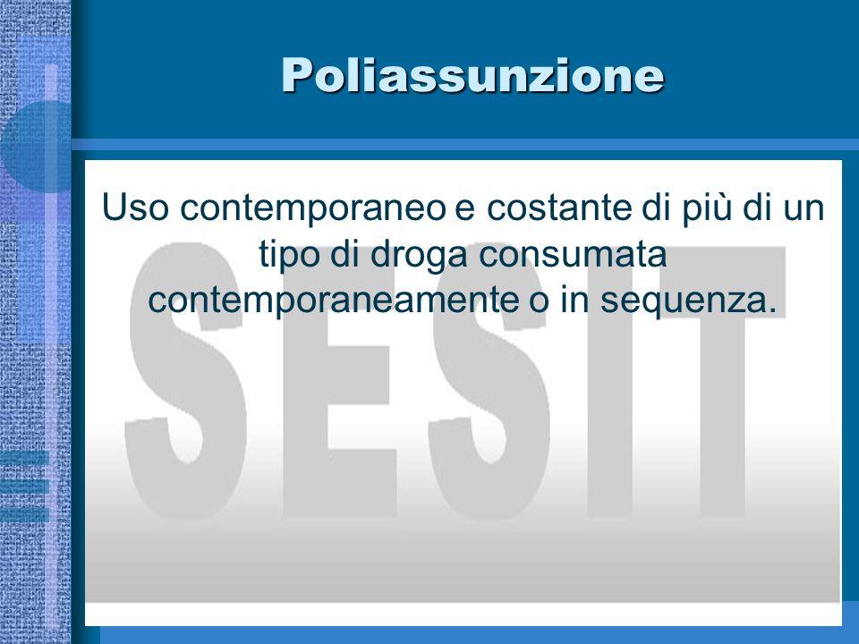 Poliassunzione Uso contemporaneo e costante di più di un tipo di droga consumata contemporaneamente o in sequenza.