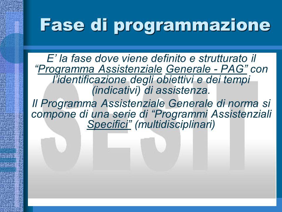 Fase di programmazione E la fase dove viene definito e strutturato ilProgramma Assistenziale Generale - PAG con lidentificazione degli obiettivi e dei tempi (indicativi) di assistenza.