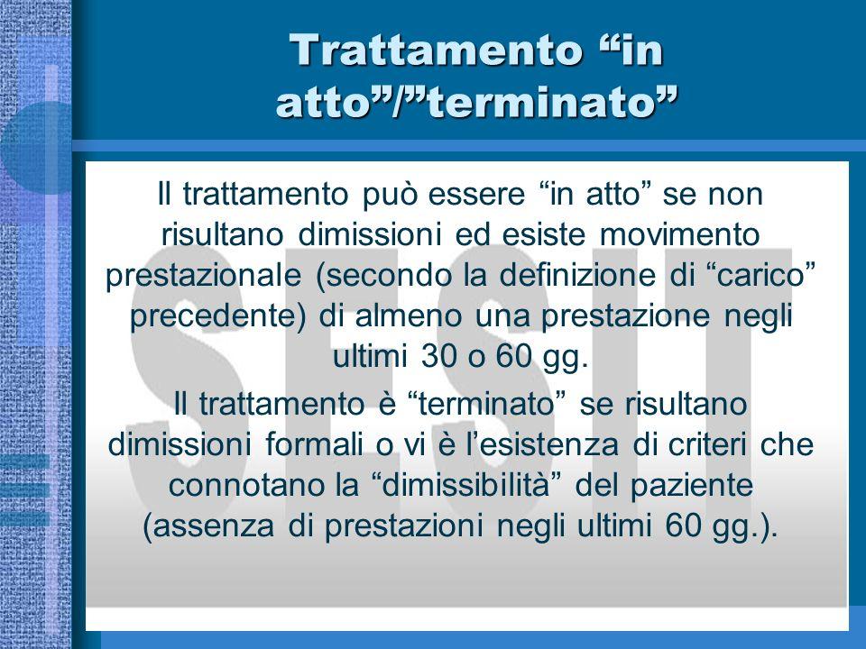 Trattamento in atto/terminato Il trattamento può essere in atto se non risultano dimissioni ed esiste movimento prestazionale (secondo la definizione di carico precedente) di almeno una prestazione negli ultimi 30 o 60 gg.