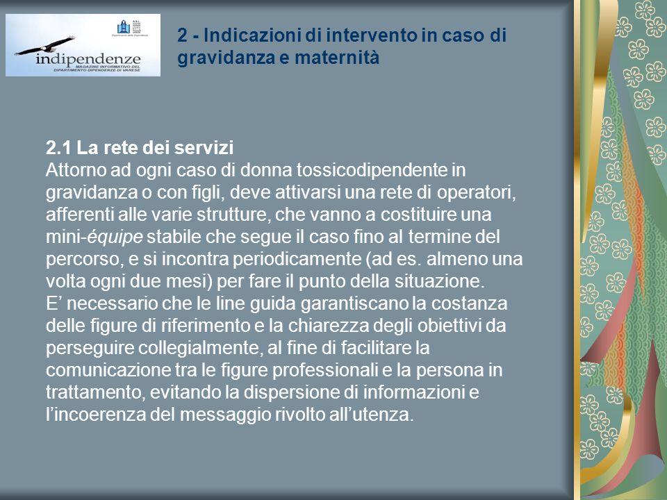 2 - Indicazioni di intervento in caso di gravidanza e maternità 2.1 La rete dei servizi Attorno ad ogni caso di donna tossicodipendente in gravidanza