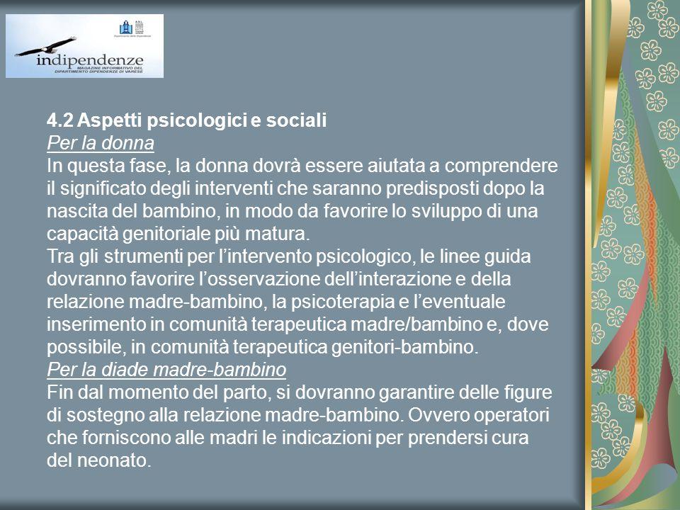 4.2 Aspetti psicologici e sociali Per la donna In questa fase, la donna dovrà essere aiutata a comprendere il significato degli interventi che saranno