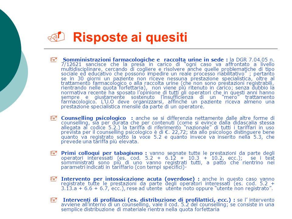 Attività di prestazione, cura e riabilitazione Codi ce ASL Sede attivit à PrestazioneCommentoTariffe Colloqui 5.5 intervento socio-riabilitativo Osser