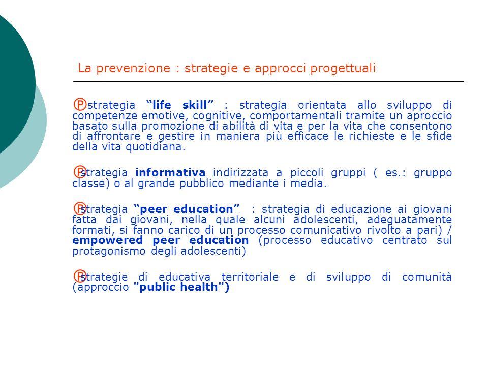 La prevenzione : definizione La prevenzione ha come oggetto il miglioramento della salute dei cittadini a livello fisico e psichico e, secondo una def