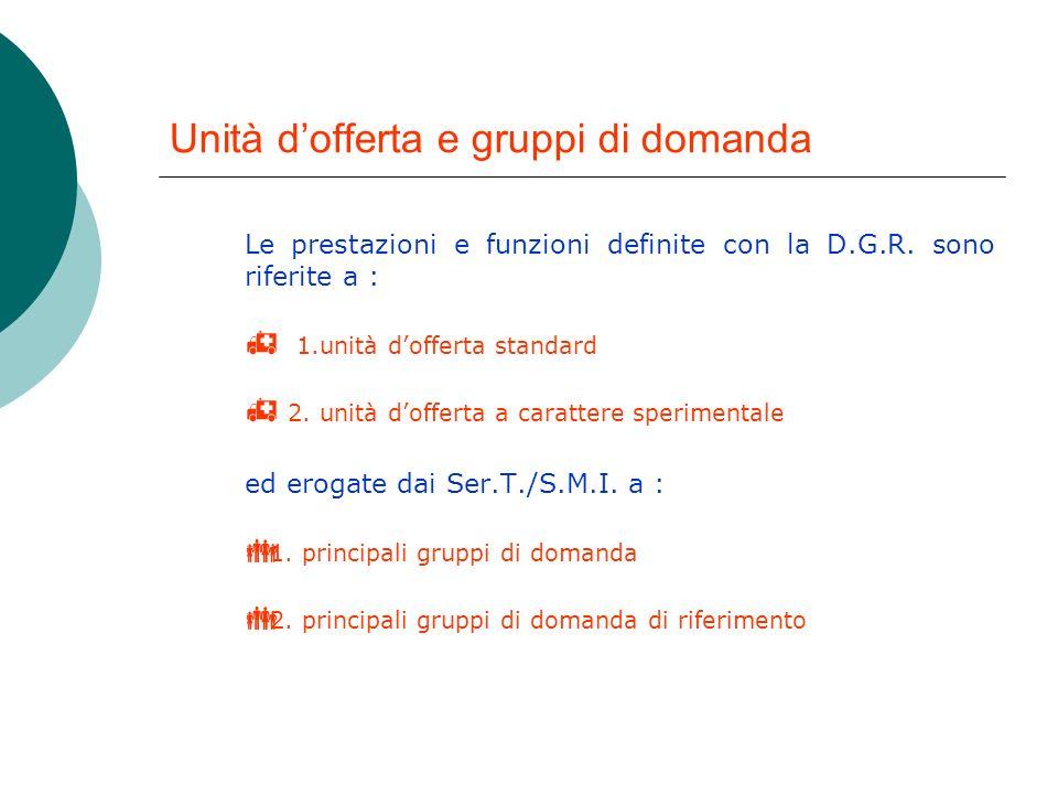 Unità dofferta e gruppi di domanda Le prestazioni e funzioni definite con la D.G.R.