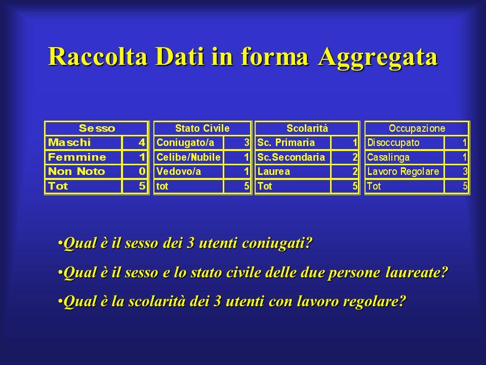 Raccolta Dati in forma Aggregata Qual è il sesso dei 3 utenti coniugati Qual è il sesso dei 3 utenti coniugati.