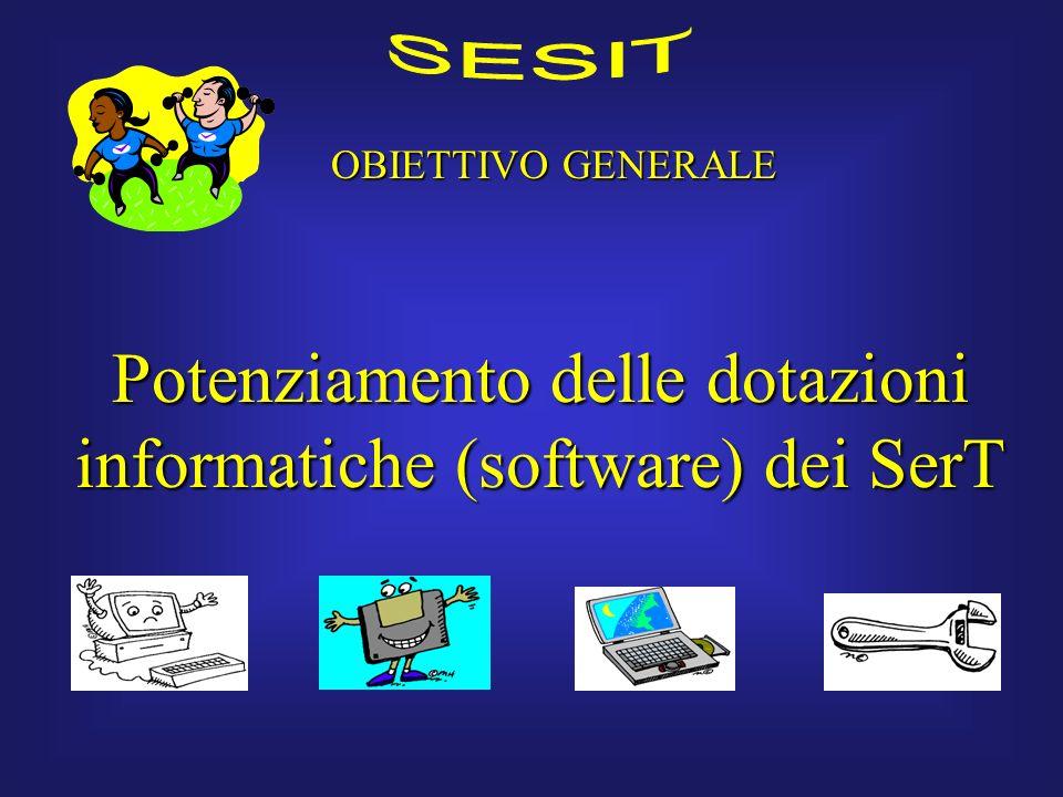 OBIETTIVO GENERALE Potenziamento delle dotazioni informatiche (software) dei SerT