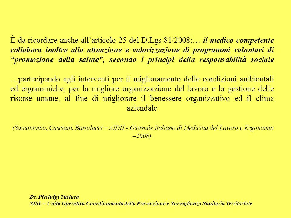 Dr. Pierluigi Turtura SISL – Unità Operativa Coordinamento della Prevenzione e Sorveglianza Sanitaria Territoriale È da ricordare anche allarticolo 25