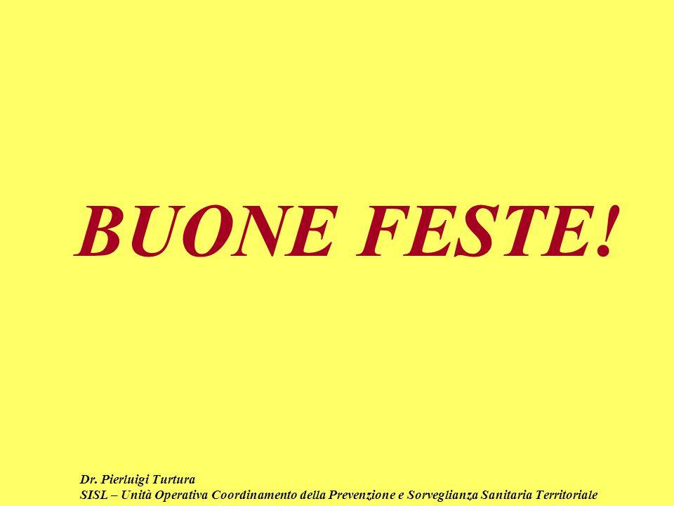 Dr. Pierluigi Turtura SISL – Unità Operativa Coordinamento della Prevenzione e Sorveglianza Sanitaria Territoriale BUONE FESTE!