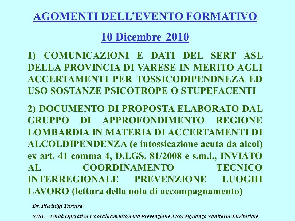 Dr. Pierluigi Turtura SISL – Unità Operativa Coordinamento della Prevenzione e Sorveglianza Sanitaria Territoriale AGOMENTI DELLEVENTO FORMATIVO 10 Di