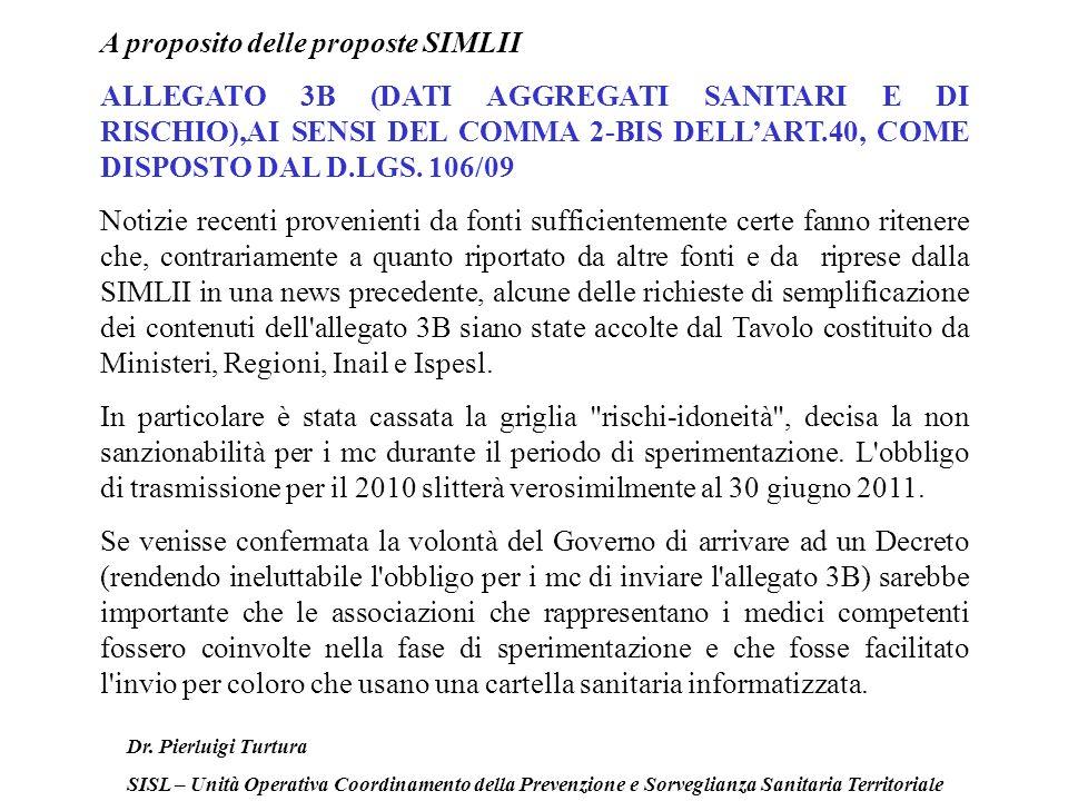 Dr. Pierluigi Turtura SISL – Unità Operativa Coordinamento della Prevenzione e Sorveglianza Sanitaria Territoriale A proposito delle proposte SIMLII A