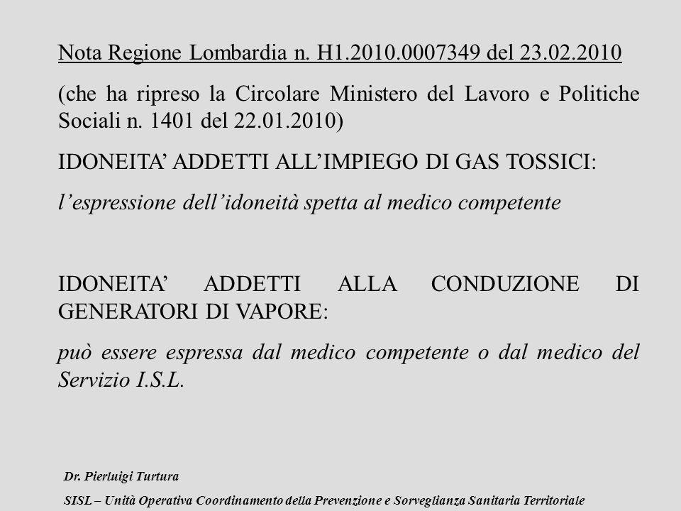 Dr. Pierluigi Turtura SISL – Unità Operativa Coordinamento della Prevenzione e Sorveglianza Sanitaria Territoriale Nota Regione Lombardia n. H1.2010.0
