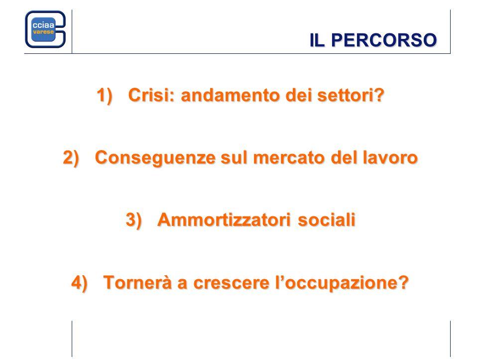IL PERCORSO 1)Crisi: andamento dei settori? 2)Conseguenze sul mercato del lavoro 3)Ammortizzatori sociali 4)Tornerà a crescere loccupazione?
