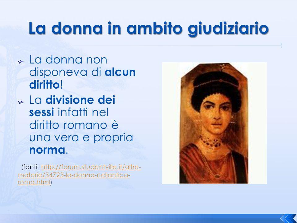 La donna non disponeva di alcun diritto ! La divisione dei sessi infatti nel diritto romano è una vera e propria norma. (fonti: http://forum.studentvi