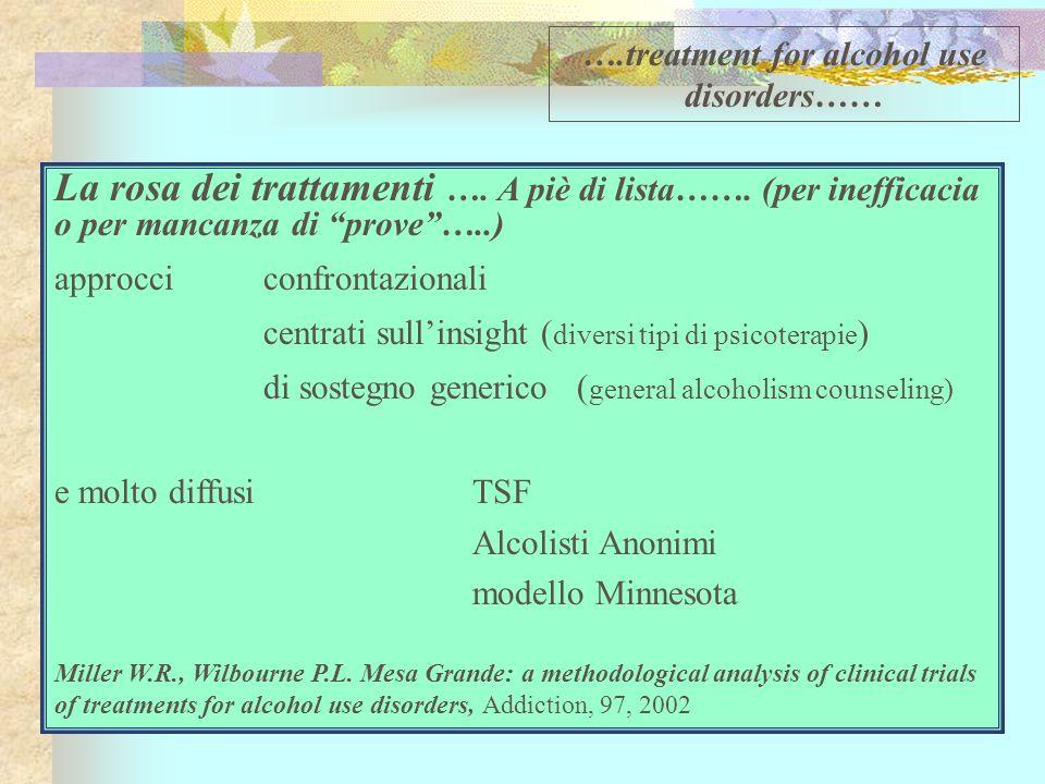 La rosa dei trattamenti …. A piè di lista……. (per inefficacia o per mancanza di prove…..) approcci confrontazionali centrati sullinsight ( diversi tip