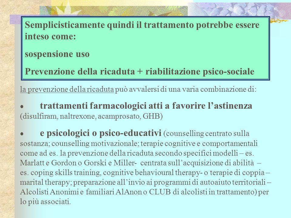 la prevenzione della ricaduta può avvalersi di una varia combinazione di: trattamenti farmacologici atti a favorire lastinenza (disulfiram, naltrexone