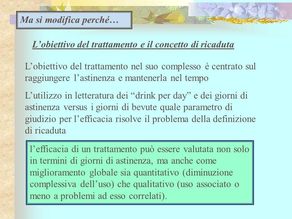 Lobiettivo del trattamento e il concetto di ricaduta Lobiettivo del trattamento nel suo complesso è centrato sul raggiungere lastinenza e mantenerla n