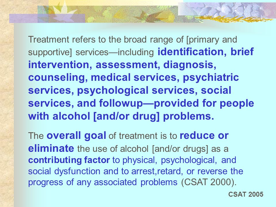 Treatment refers to the broad range of [primary and supportive] servicesincluding identification, brief intervention, assessment, diagnosis, counselin