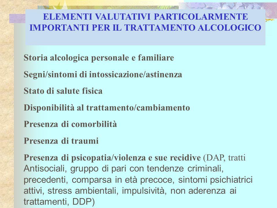 Storia alcologica personale e familiare Segni/sintomi di intossicazione/astinenza Stato di salute fisica Disponibilità al trattamento/cambiamento Pres