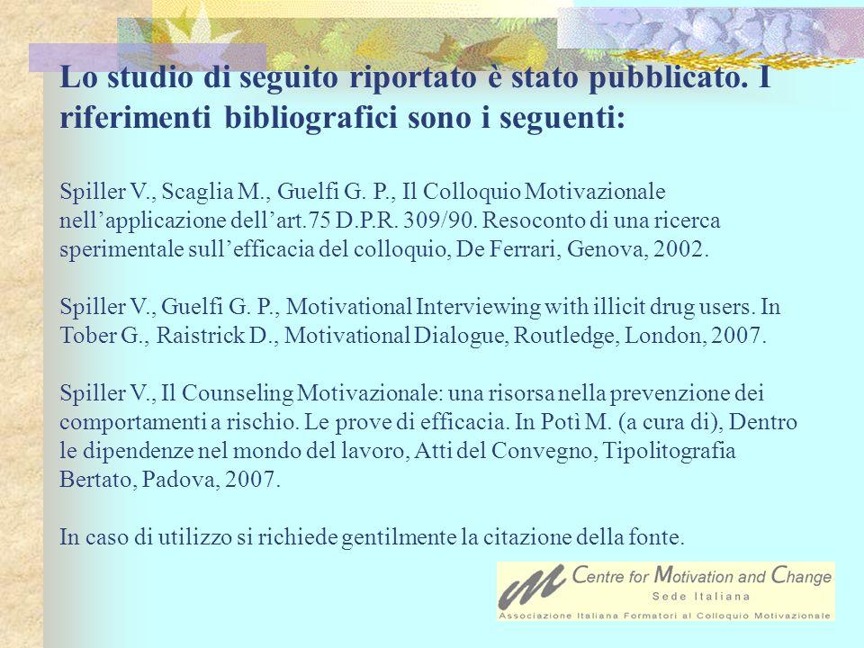 Lo studio di seguito riportato è stato pubblicato. I riferimenti bibliografici sono i seguenti: Spiller V., Scaglia M., Guelfi G. P., Il Colloquio Mot