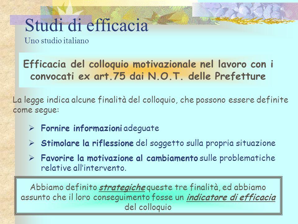Studi di efficacia Uno studio italiano Efficacia del colloquio motivazionale nel lavoro con i convocati ex art.75 dai N.O.T. delle Prefetture Abbiamo