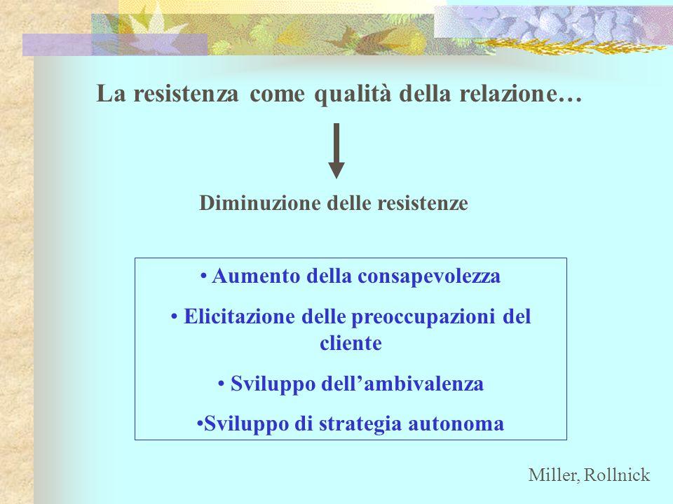 La resistenza come qualità della relazione… Diminuzione delle resistenze Aumento della consapevolezza Elicitazione delle preoccupazioni del cliente Sv