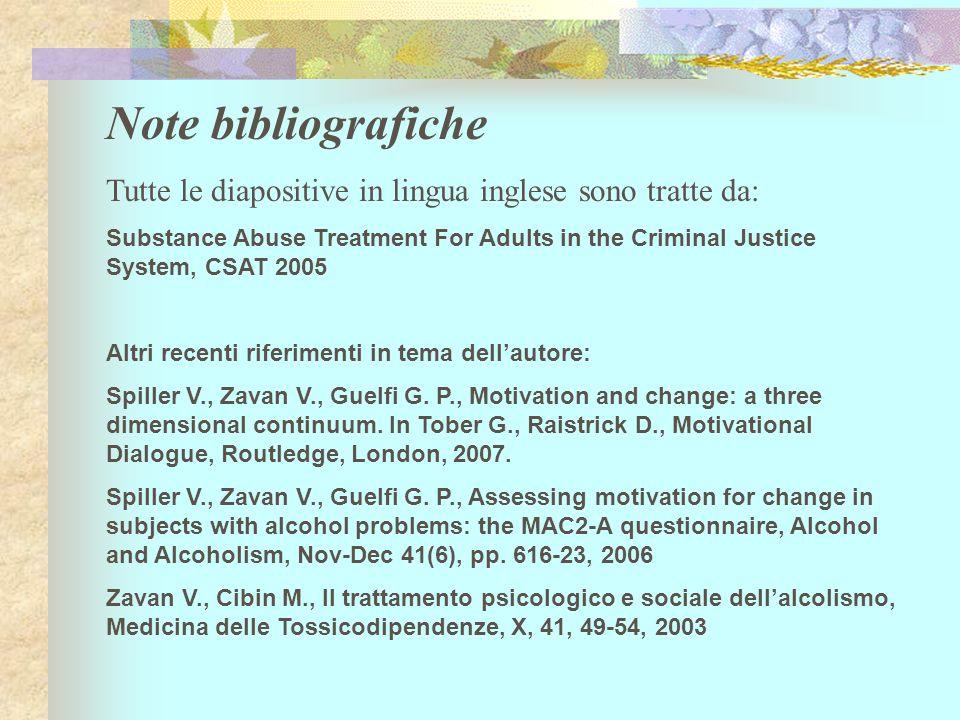 Note bibliografiche Tutte le diapositive in lingua inglese sono tratte da: Substance Abuse Treatment For Adults in the Criminal Justice System, CSAT 2005 Altri recenti riferimenti in tema dellautore: Spiller V., Zavan V., Guelfi G.