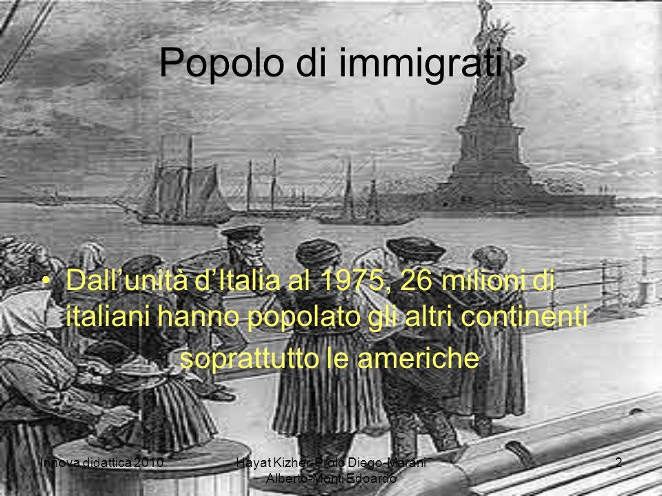 Innova didattica 2010Hayat Kizher-Prolo Diego-Marani Alberto-Monti Edoardo 2 Popolo di immigrati Dallunità dItalia al 1975, 26 milioni di italiani hanno popolato gli altri continenti soprattutto le americhe