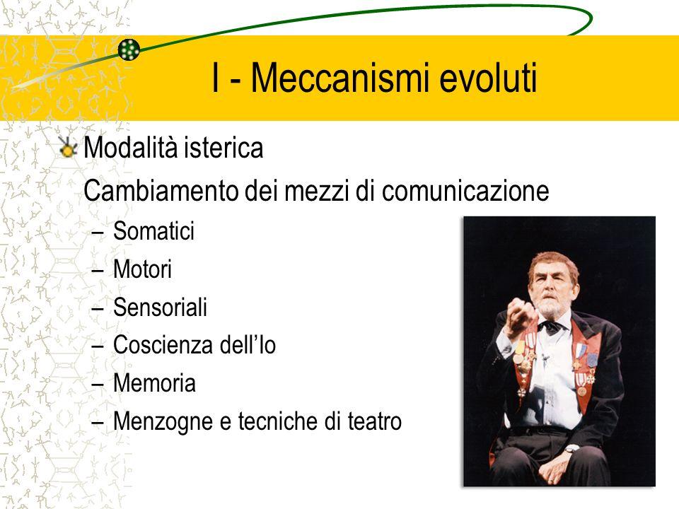 I - Meccanismi evoluti Modalità isterica Cambiamento dei mezzi di comunicazione –Somatici –Motori –Sensoriali –Coscienza dellIo –Memoria –Menzogne e tecniche di teatro