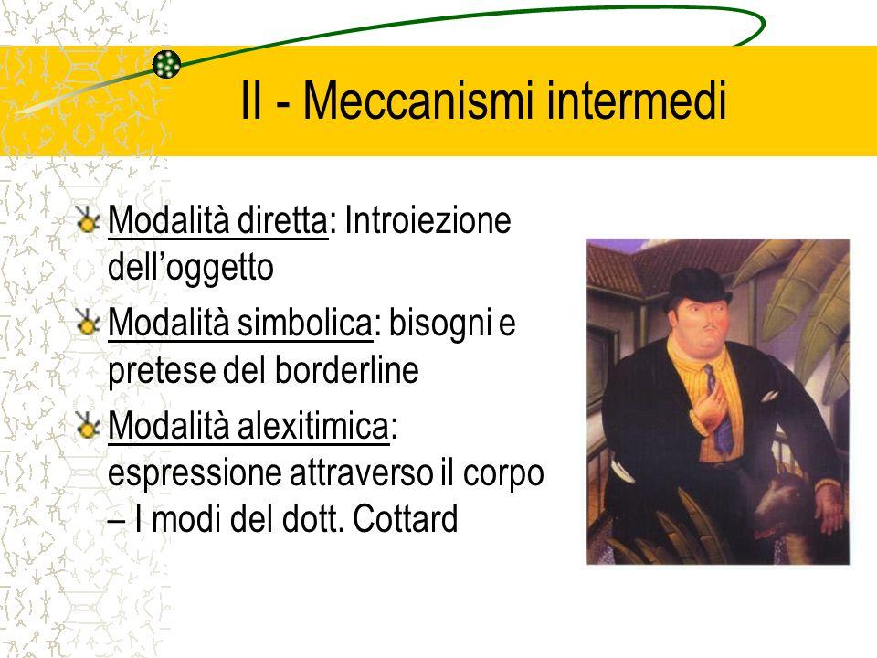 II - Meccanismi intermedi Modalità diretta: Introiezione delloggetto Modalità simbolica: bisogni e pretese del borderline Modalità alexitimica: espres