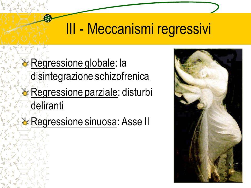 III - Meccanismi regressivi Regressione globale: la disintegrazione schizofrenica Regressione parziale: disturbi deliranti Regressione sinuosa: Asse II