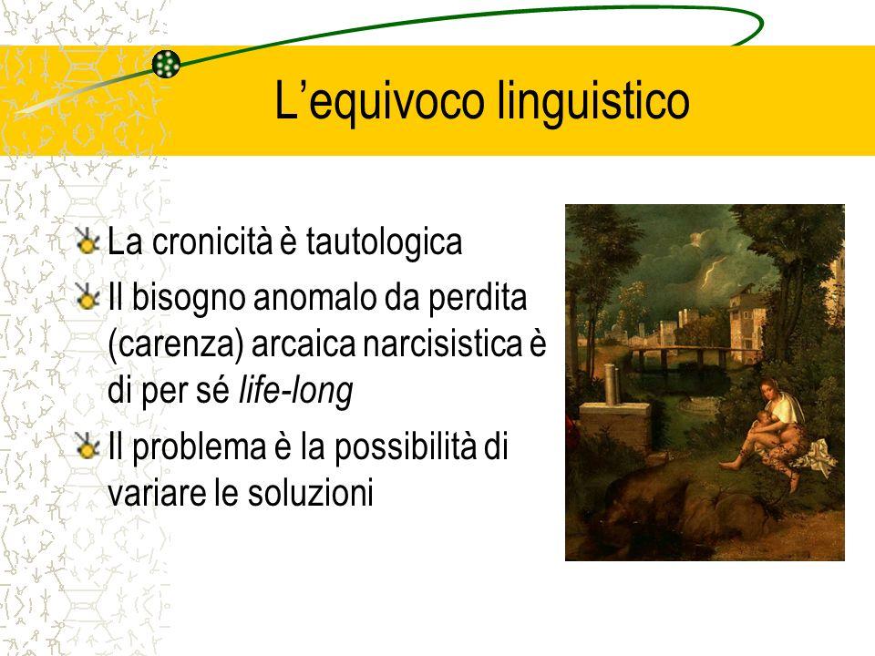 Lequivoco linguistico La cronicità è tautologica Il bisogno anomalo da perdita (carenza) arcaica narcisistica è di per sé life-long Il problema è la possibilità di variare le soluzioni