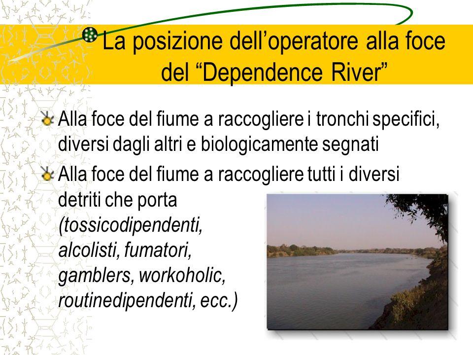 La posizione delloperatore alla foce del Dependence River Alla foce del fiume a raccogliere i tronchi specifici, diversi dagli altri e biologicamente
