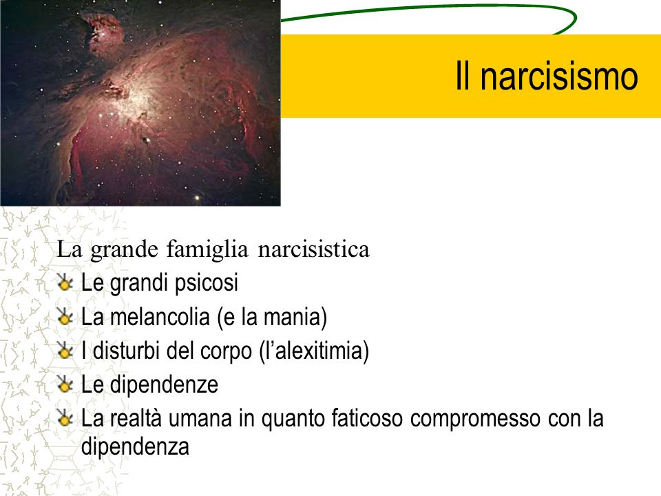 Il narcisismo La grande famiglia narcisistica Le grandi psicosi La melancolia (e la mania) I disturbi del corpo (lalexitimia) Le dipendenze La realtà umana in quanto faticoso compromesso con la dipendenza