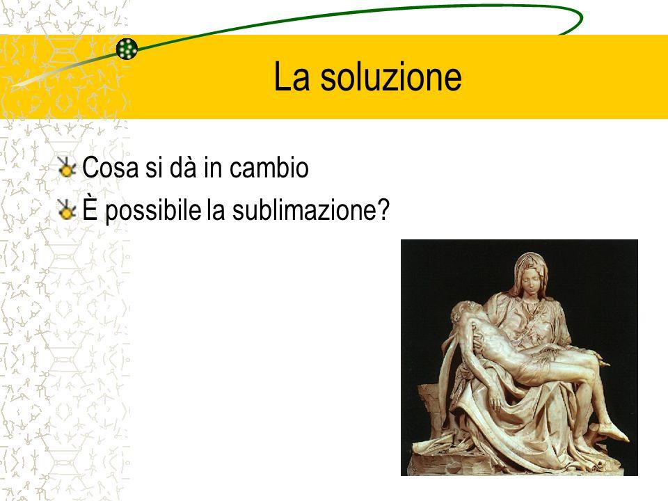 La soluzione Cosa si dà in cambio È possibile la sublimazione?