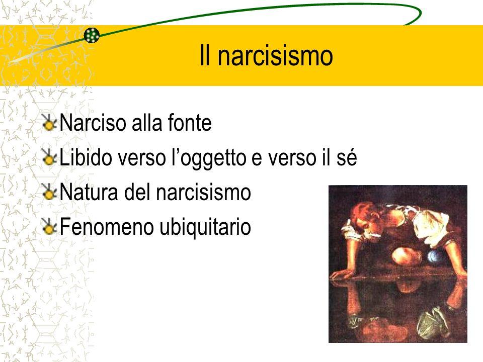 Il narcisismo Narciso alla fonte Libido verso loggetto e verso il sé Natura del narcisismo Fenomeno ubiquitario