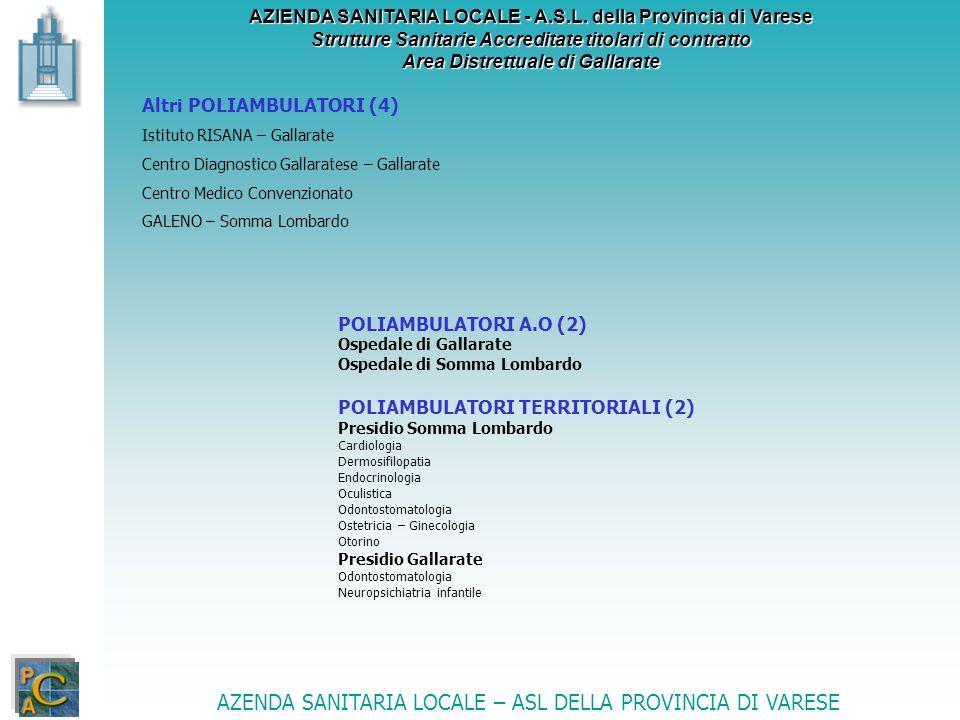 AZIENDA SANITARIA LOCALE - A.S.L. della Provincia di Varese Strutture Sanitarie Accreditate titolari di contratto Area Distrettuale di Gallarate Altri