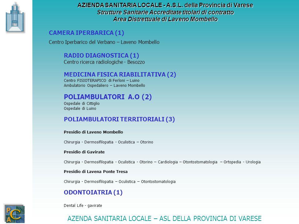 AZIENDA SANITARIA LOCALE - A.S.L. della Provincia di Varese Strutture Sanitarie Accreditate titolari di contratto Area Distrettuale di Laveno Mombello