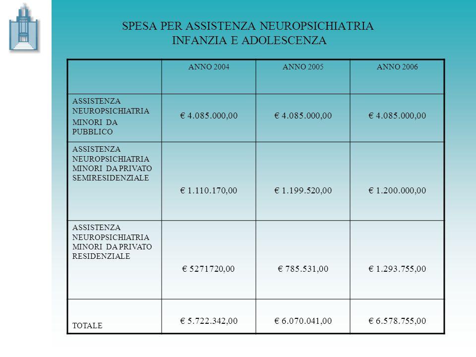 ANNO 2004ANNO 2005ANNO 2006 ASSISTENZA NEUROPSICHIATRIA MINORI DA PUBBLICO 4.085.000,00 ASSISTENZA NEUROPSICHIATRIA MINORI DA PRIVATO SEMIRESIDENZIALE