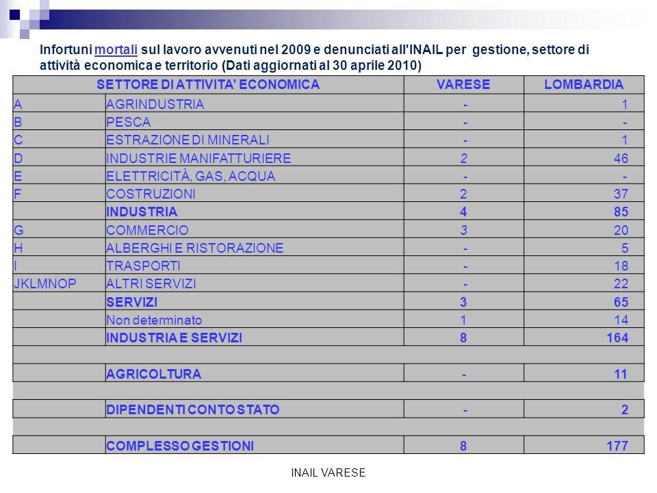 STRANIERI - Infortuni sul lavoro avvenuti nel 2009 e denunciati all INAIL per Paese di nascita e territorio (dati aggiornati al 30 aprile 2010) INAIL VARESE PAESE DI NASCITAVARESELOMBARDIA ROMANIA 172 2.945 MAROCCO 369 3.625 ALBANIA 258 2.210 TUNISIA 87 811 SVIZZERA 53 522 EX JUGOSLAVIA 30 504 GERMANIA 52 386 PERU 83 1.099 INDIA 17 1.092 SENEGAL 56 990 MACEDONIA 9 159 MOLDAVIA 8 277 ECUADOR 62 943 POLONIA 31 245 EGITTO 43 1.241 BANGLADESH 55 394 UCRAINA 28 356 FRANCIA 30 249 PAKISTAN 102 777 BRASILE 30 432 ARGENTINA 26 251 GHANA 22 326 SRI LANKA 29 396 NIGERIA 13 188 FILIPPINE 11 394 BOSNIA - ERZEGOVINA 9 142 ALGERIA 5 164 CINA 7 142 BELGIO 11 100 BULGARIA 8 185 COSTA D AVORIO 24 261 VENEZUELA 10 76 COLOMBIA 8 165 REPUBBLICA DOMINICANA 14 147 CROAZIA 8 70 GRAN BRETAGNA 12 85 ETIOPIA 3 96 CUBA 3 79 TURCHIA 6 136 CANADA 5 24 RUSSIA 7 46 ALTRI PAESI 170 1.809 TOTALE 1.986 24.539
