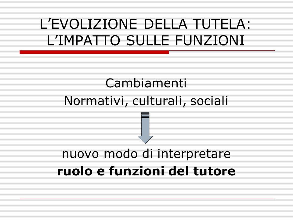 LEVOLIZIONE DELLA TUTELA: LIMPATTO SULLE FUNZIONI Cambiamenti Normativi, culturali, sociali nuovo modo di interpretare ruolo e funzioni del tutore
