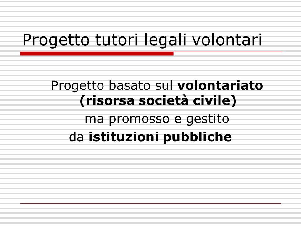 Progetto tutori legali volontari Progetto basato sul volontariato (risorsa società civile) ma promosso e gestito da istituzioni pubbliche